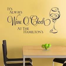 Personalised Kitchen Wall Sticker Wine O Clock Vinyl Decal Etsy
