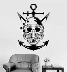 Vinyl Wall Decal Skull Diver Marine Nautical Art Scuba Stickers Ig3917 Ebay