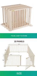 Foldable 10 Panel Pet Kids Baby Playpen Safety Fence New Zealand Pine Wood Ebay