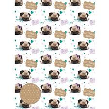 cute birthday pug gift wrap furrypartners