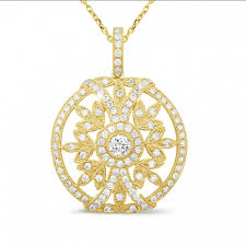 carat diamond pendant in yellow gold