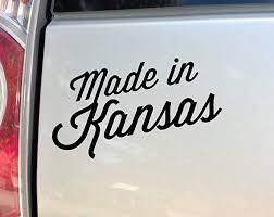 Amazon Com Made In Kansas Vinyl Decal Laptop Car Truck Bumper Window Sticker 7 5 X 4 5 Black Automotive