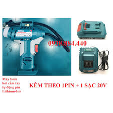 20V Máy bơm hơi tự động dùng pin Total TACLI2001 1PIN1SAC - Kèm theo 1 pin  Lithium và 1 cục sạc