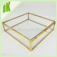 powder box clear design glass black lid