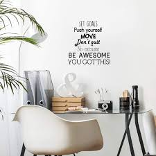 Amazon Com Vinyl Wall Art Decal Set Goals Push Yourself Don T Quit 24 X 23 Positive Fitness Healthy Lifestyle Quote Sticker For Gym Crossfit Fitness Yoga Ballet Office Work Decor