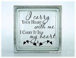 Glass Block Vinyl Decal I Carry Your Heart With Me I Etsy