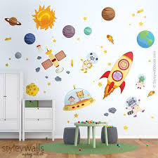 Space Wall Decal Planets Wall Decal Sticker Spaceship Wall Etsy Space Wall Decals Wall Decals Space Themed Room