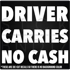 Driver Carries No Cash Uber Livery Usa Decal Sticker Macbook Car Truck Window Wish