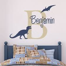 Boys Name Decal Personalized Dinosaur Wall Decal Tyrannosaurus Rex And Pterodactyl Baby Boys In 2020 Dinosaur Wall Decals Dinosaur Boys Room Dinosaur Room Decor