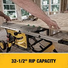 The Dewalt Dwe7491rs 10 Inch Jobsite Table Saw With 32 1 2 Inch 82 5cm Rip Capacity And A Rolling Stand 10 Inch Table Saw Table Saw Reviews Hybrid Table Saw