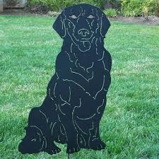 black labrador retriever metal garden