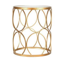 gold circles mirrored side table gold