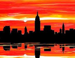 New York city art prints, NYC orange, black sunset skyline canvas ...