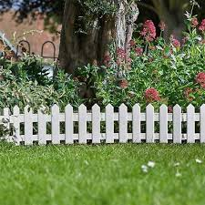 White Wood Effect Picket Fence Panels Border Flower Bed Lawn Graveside Edging Ebay