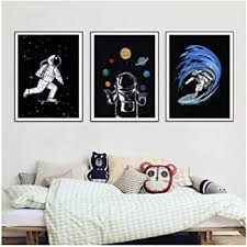Amazon Com Dayanzai Space Astronaut Boys Wall Art Canvas Painting Outer Space Galaxy Spaceman Posters And Prints Wall Pictures Kids Room Decor 40x50cmx3pcs No Frame Posters Prints
