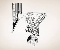 Amazon Com Basketball Hoop And Ball Vinyl Wall Decal Sticker Os Aa504s Black 36in X 30in Size Home Kitchen