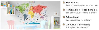 Amazon Com Homeevolution Kids Educational Removable World Map Peel And Stick Large Wall Decals Stickers For Children Nursery Bedroom Living Room Kitchen Dining
