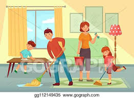 EPS Illustration - Family cleaning house. father, mother and kids ...