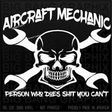 Funny Aircraft Mechanic Vinyl Decal Sticker Die Cut Car Truck Window Occupation Ebay