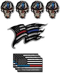 Amazon Com Pack Of 7 Thin Blue And Red Line To Show Support For Police And Firemen Decal Sticker Firefighter American Flag Vinyl Skull Tattered Distressed Fallen Officer Thin Blue Line Car Truck