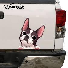 Jump Time 13cm X 11 1cm Boston Terrier Car Window Sticker Decal Waterproof Vinyl Racing Funny Dog Decals Bumper Car Assessoires Car Stickers Aliexpress