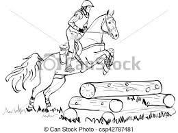 Overcoming Of Cross Country Obstacles In Horse Symbol Vector Horse Cross Country Jumping Horse And Rider Jumping Over Fence