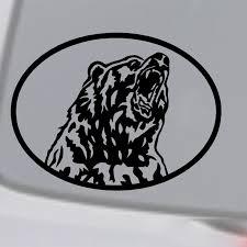 Grizzly Bear Vinyl Decal Sticker Car Window Wall Bumper Alaska Animal Oval Vinyl Decals Stickers Decal Stickersticker Car Aliexpress