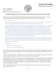 Senator Jeff Golden News Release