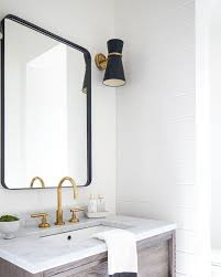 bathroom mirror framed with crown