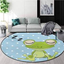 Amazon Com Rugsmat Cartoon Carpet Gray Round Area Rug Sleeping Prince Frog In A Cap Polka Dots Background Cute Animal World Kids Design Pattern Floor Seat Pad Home Decorative Indoor Diameter 35 Inch Home Kitchen