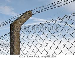Fence Post And Wire Fence Post Supporting Barbed Wire And Mesh