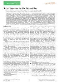 pdf herbal cosmetics used for skin