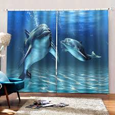 Window Blackout Curtains 3d Dolphin Photo Curtains For Kids Bedroom Living Room Drapes Para Sale Modern Kitchen Decor Curtain Curtains Aliexpress