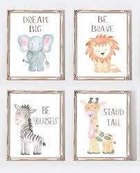 Instant Download Safari Nursery Wall Art Animal Paintings Baby Animal Bellataradesigns