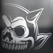 Right Horn Skull Car Decal Painted Demons Art Design And Apparel