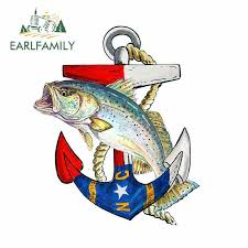Earlfamily 13cm X 10 8cm Nc Anchor Speckled Trout Vinyl Decal Sticker Car Truck Cooler Tumbler Car Sticker Waterproof Graphic Car Stickers Aliexpress