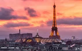تحميل خلفيات مساء باريس فرنسا برج إيفل غروب الشمس علم فرنسا