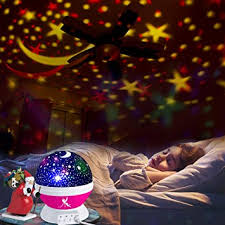Belun Stars Night Light For Kids Universe Night Light Projection Lamp Romantic Star Christmas Birthday Space Projector Lamp For Bedroom Pink Amazon Com