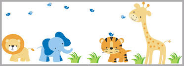Large Animal Wall Decals Blue Elephant Decal Tiger Decal Cute Nurserydecals4you