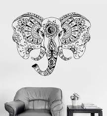 Vinyl Wall Decal Elephant Head Animal Tribal Ornament Stickers Unique Wallstickers4you