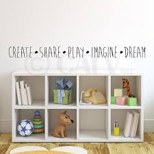 Create Share Play Imagine Dream Vinyl Lettering Wall Decal Sticker 4 H X 47 L Black Walmart Com Walmart Com