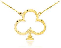 com 14k yellow gold clover leaf