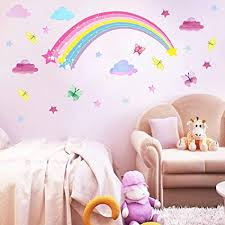 Amazon Com Rainbow Wall Decal Cloud Wall Decal Butterflies Decal Stars Wall Decals Removable Wall Decals Peel Stick Girls Bedroom Decor Kids Room Decal Arts Crafts Sewing