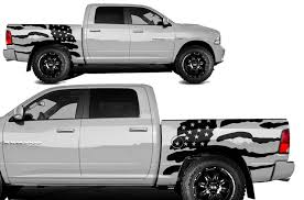 Dodge Ram 1500 2500 2009 2018 5 7 Bed Vinyl Decal Kit Usa Flag Factory Crafts