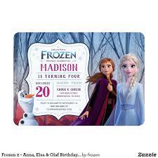 Frozen 2 Anna Elsa Olaf Birthday Party Invitation Zazzle Com Olaf Birthday Party Invitations Olaf Birthday Olaf Birthday Party