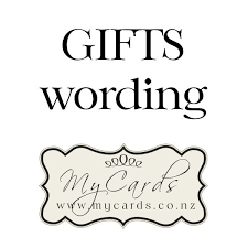 gifts wording wedding invitation mycards