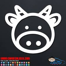 Cute Cow Face Vinyl Car Decal Window Sticker Graphic