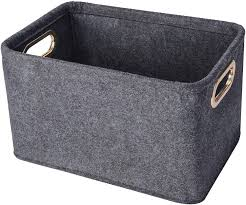 Amazon Com Collapsible Storage Bins Foldable Felt Fabric Storage Basket Organizer Boxes Containers With Handles Metal Handles For Nursery Toys Kids Room Clothes Towels Magazine Home Improvement