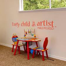Amazon Com Every Child Is An Artist Decal Art Wall Decal Masterpieces Wall Decal Pablo Picasso Decal Vinyl Wall Decal Sticker 58x9 King Blue Home Kitchen