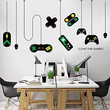 Amazon Com Chengqism Game Wall Stickers Gaming Controller Joystick Playroom Wall Decals For Bedroom Living Room Decor Removable Art Mural For Boys Kids Men Kitchen Dining
